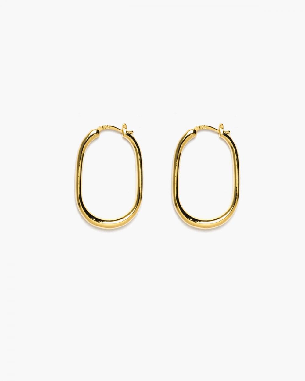 orecchini coppia ellisse filo tondo chiusura a scatto oro giallo lucido