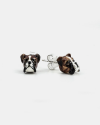 boxer couple earrings enamelled