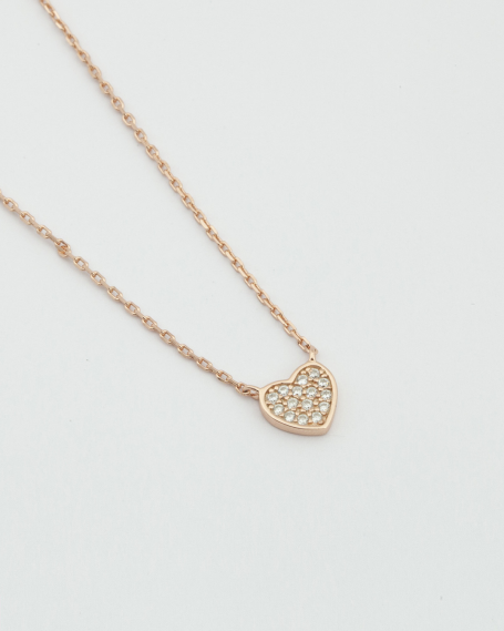 CUBICA ZIRCONIA HEART NECKLACE / ROSE GOLD FINISH