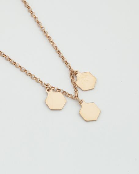 THREE HEXAGONES NECKLACE / ROSE GOLD FINISH