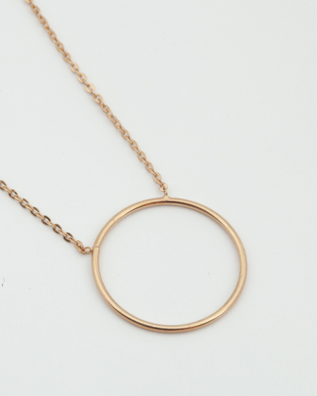 BIG CIRCLE NECKLACE / ROSE GOLD FINISH