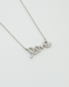 cubic zirconia italic love necklace white rhodium finish
