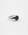 black cubic zirconia round signet ring rhodium finish